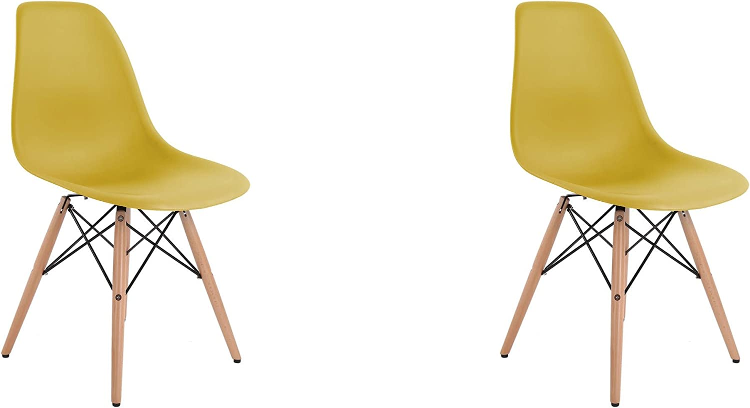 Meubles House S2-PC-0116W-M Eames Style Side Chair-Modern Eiffel Style Adult Dining Natural Wood Base-Mustard (Set of Two)