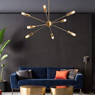 KDG Chandeliers 8-Lights Modern Sputnik Chandeliers Mid Century Pendant Lighting Gold Brass Ceiling Light Fixture for Kitchen Dining Room Living Room (Gold 8Lights)