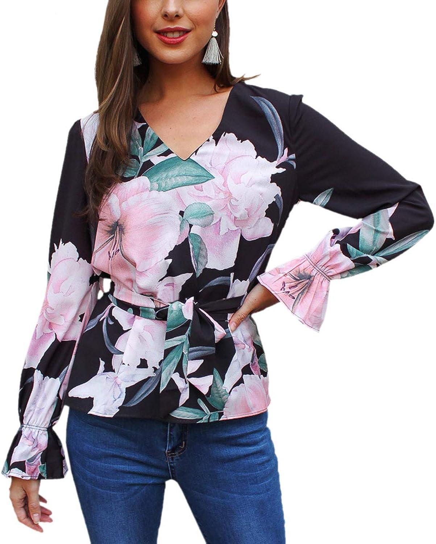 Floral Print Lace Up Shirt Ruffled Hem Long Sleeve V Neck Elegant Women's Blouse