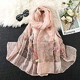 an Scarf a Bufanda Bordada para Mujer Moda de Todo fósforo, Bufanda de Seda con mantón Protector Solar Bordado-Rosa