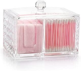 Watpot Qtip Cotton Pads Holder Makeup Organizer Cosmetics Makeup Acrylic Clear Diamond Pattern Cotton Swab Box Cotton Pads, 3 Sections