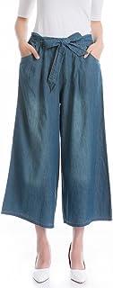 レディース ガウチョパンツ ワイドパンツ デニム ロングパンツ 大きいサイズ 春夏秋 薄 無地 9分丈 綿 ストレッチ ゆったり カジュアル ファッション