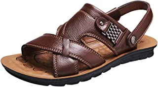 OULSEN Men's Fashion Breathable Sandals Leather Summer Casual Beach Sandals Non-slip Shoes Slippers Outdoor Walking Sandals