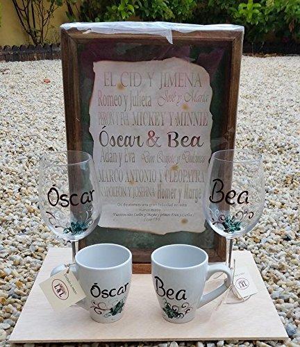 Regalo Bodas, aniversario con los nombre de los novios entre los amantes mas grandes, dos tazas de desayuno personalizadas y dos copas de vino personalizadas
