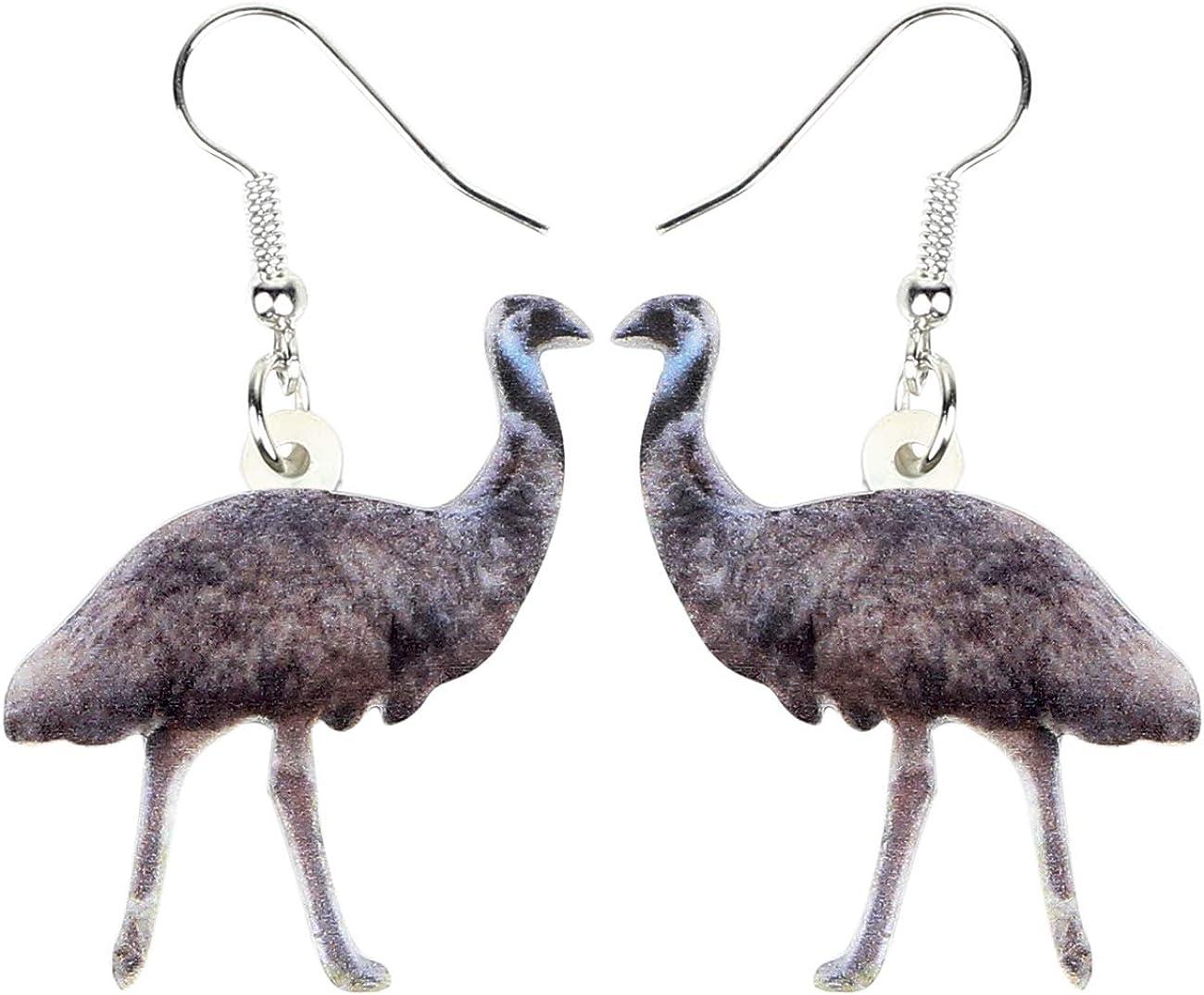 DUOWEI Acrylic Colorful Australian Emu Ostrich Bird Earrings Birds Dangle Drop Classic Jewelry Gifts For Women Girls (Brown)