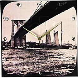 3dRose DPP_77343_2 Brooklyn Bridge with Sailboat East River New York City Glass Slide-Wall Clock, 13 by 13-Inch