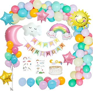 MMTX Birthday Party Decorations Girl Pastel, Birthday Party Supply Sky Theme with Happy Birthday Banner, Sun Moon Clouds R...