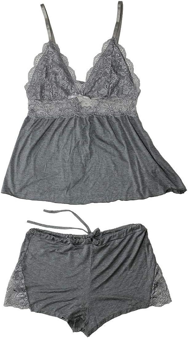 Aboufunny Women's Sleeveless Nightwear Race Time Sleepwear V Neck Sexy Pajamas Shorts Set,Grey