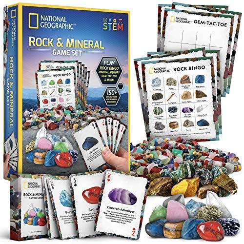 NATIONAL GEOGRAPHIC Rock Bingo Game -Play Rock Bingo, Mineral Memory, Gemstone Trivia, & Your...