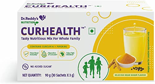 CURHEALTH Immunity Booster Nutritious Mix Powder Blended with Curcumin Extract Peperine in Tasty Kesar Badam Flavour 30 Sachets