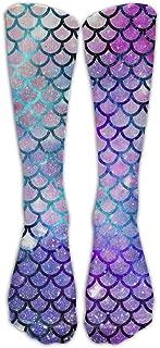Mermaid Scales With Galaxy Crazy football compression Socks Crew Socks High Socks Long Socks For Running,Medical,Athletic,Edema,Diabetic,Varicose Veins,Travel,Pregnancy,Shin Splints,Nursing.