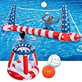 """Inflatable Pool American Flag Floats Set Volleyball Net & Basketball Hoops; Balls Included for Kids and Adults Swimming Game Toy, Floating, Volleyball Court (105""""x28""""x35"""")