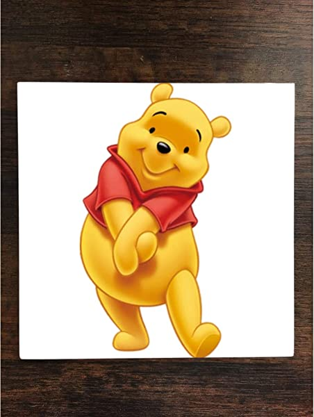 Winnie The Pooh One Piece Premium Ceramic Tile Coaster 4 25 X4 25 Square Drink Protection For Coffee Tables By Smarter Designs