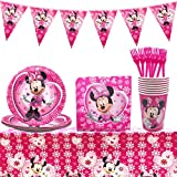 Set de fiesta de cumpleaños de Minnie WENTS 53PCS Disney Minnie Mouse Party Decoration Set Platos Tazas Servilletas Pack de fiesta reciclable Minnie Mantel Sirve para 8 Invitados