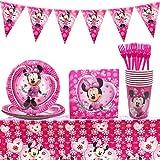 Set de fiesta de cumpleaños de Minnie WENTS 53PCS Disney Minnie Mouse Party Decoration Set Platos Tazas Servilletas Pack de fiesta reciclable Minnie Mantel Sirve para 8 Invitados