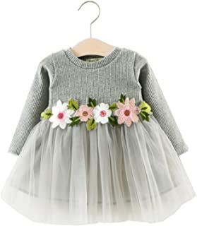 99f3f942d6 TTMOW Toddler Baby Girl Dresses Princess Floral Front Fluffy Long Sleeve  Dress