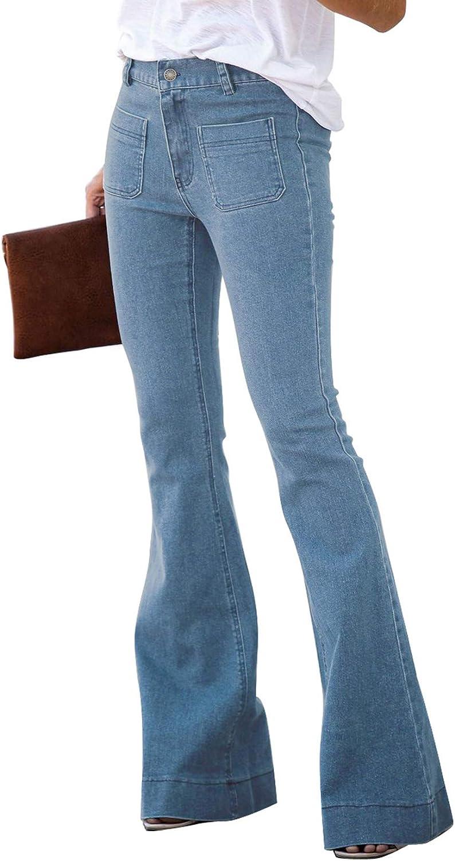 Douremifa Women Bell Bottom Jeans Elastic Waist Ripped Hole Denim Flare Pants