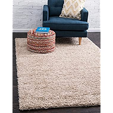 Unique Loom Solo Solid Shag Collection Modern Plush Taupe Rectangle (4' x 6')