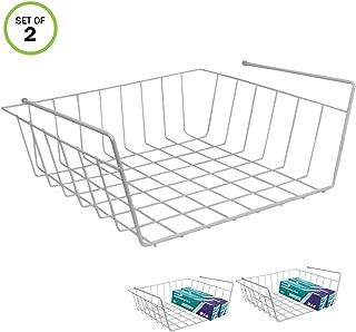 Evelots Slide Under Shelf Basket-Sturdy Coated Wire-No Rust-Easy Install-Set/2
