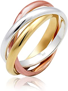 Elli Women Wrapped Basic Tri-Color 925 Silver Rose Gold Plated Ring - Size Q