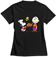 Buluew Women's Sport Charlie Brown Snoopy O Neck T-Shirt Size US SkyBlue