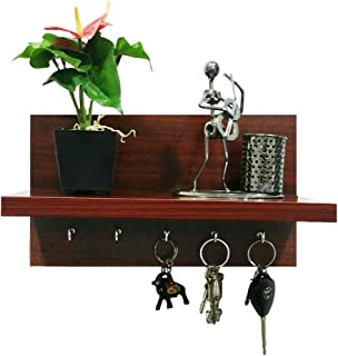 A10SHOP Omega 6 Engineered Wood Key Holder with Wall Decor Shelf, 5 Key Hooks - Mahogany