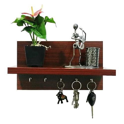A10SHOP Omega 6 Wooden Key Holder with Wall Decor Shelf, 5 Key Hooks - Mahogany