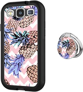 Case for Samsung Galaxy S3 Pineapples with Chevron Stripes Anti-Scratch Hard Backplate Back Cover with Ring Holder for Samsung Galaxy S3 Black Shock-Proof Protective Case [Anti-Slippery]