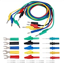 Akozon Banana Plug Kit 4mm Banana to Banana Plug Test Lead Kit Crocodile Clip & U-type Probe for Multimeter Power Supply a...