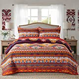 Homcosan Cotton Bedspread Quilt Sets King Size (98x106 inches), Reversible Red Orange Boho Patterns, 3-Piece Bedding, Lightweight Coverlet for All Season (1 Quilt + 2 Pillow Shams)