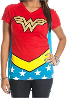 Girl's Dc Comics Wonder Woman Glitter Juniors V-Neck Tee