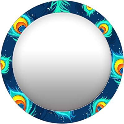 999Store Printed Blue Peacock Feathers Round Mirror (MDF_24X24 Inch_Multi)