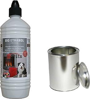 Moritz - Set de iniciación de 1 x 1000 ml de bioetanol + 1 x lata de 500 ml con tapa para quemador de chimenea, estufa, combustión de seguridad