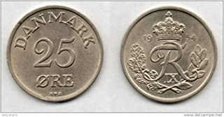 1954 Denmark -- 25 Ore -- Almost Uncirculated