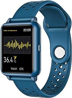 LTLJX Smartwatch, Reloj Inteligente IP67 para Mujer, Reloj Deportivo con Monitor de Sueño Pulsómetro Podómetro Pulsera Actividad Bluetooth Inteligente Notificación para Android iOS,Azul