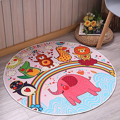 Kids Play Mat, Round Fun Cartoon Animals Play Mat, Kids Tent Game Carpet, Soft Fluffy Castle Play Floor Mats - Non-slip Design 0930 (Color : Red elephant)