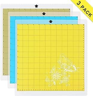"Cutting Mat Variety Suit for Cricut, for Silhouette Cameo 3 Packs 12"" x 12"" - Strong Grip, Standard Grip, Light Grip Adhesive Cutting Mat Replacement Set Matts Vinyl Craft"
