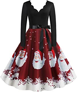 Women Vintage Christmas 1950s Housewife Evening Party Prom Dress,Ladies Christmas Print V-Neck Long Sleeve Dress