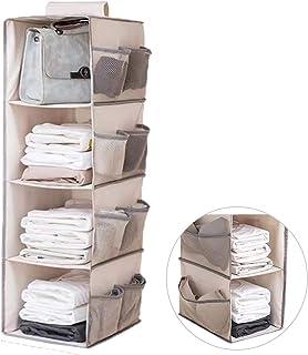 Tenfa 吊り下げ収納 衣類ラック 多機能 4段 12ポケット 下着収納ポケット付き 折りたたみ 大容量 水洗い 吊るす収納 幅26*奥行31*高80cm (ベージュ)