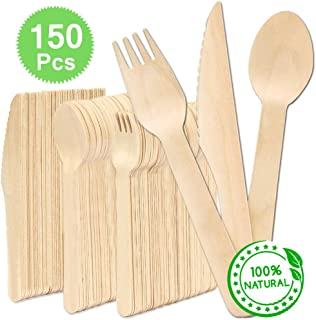 Disposable Wooden Cutlery Sets - 50 Forks, 50 Knives, 50 Spoons, 100% Natural Birchwood, 6
