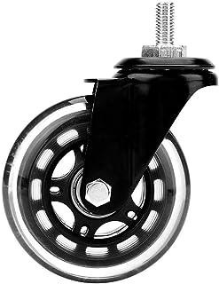 (5 uds.) Ruedas giratorias para sillas de oficina Ruedas giratorias universales de repuesto Ruedas de bola de ajuste universal para silla de oficina(electrorrevestimiento con varilla roscada)