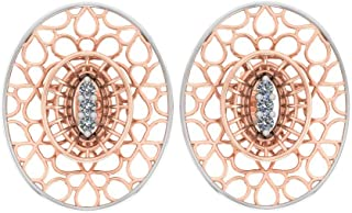 Perrian Rose Gold 0.04 Carat Round (SI2 Clarity, GH Color) Diamond Earrings for Women