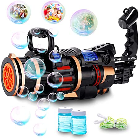 Yuboa Bubble Gun for Adults,5 Hole Big Gatling Bubble Machine Electric with Light Music Outdoor Automatic Bubble Maker for Kids Toddlers Boys Bubble Blower Orange Black.
