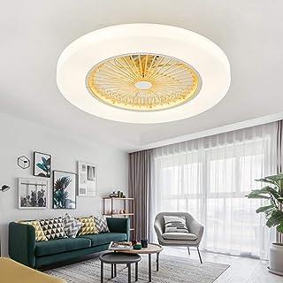 HKLY Moderno Ventilador de Techo con Luz con Mando a Distancia 72W Lámpara de Techo Regulable APP Aplicación, LED Ventilador Invisible para Salon, Dormitorio Habitación de Niños Iluminación,Amarillo