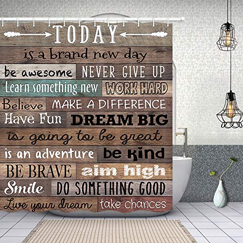 NYMB Inspirational Quotes Shower Curtain, Funny Words Today is A New Day Print on Vintage Wood, Polyester Fabric Waterproof Plank Shower Curtain for Bathroom, Bath Curtain Hooks Included, (69X70in)