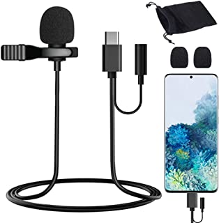 USB Type-C Lavalier Lapel Microphone Condenser Mic for Samsung/Pixel 5 4 3 2/OnePlus/S20/S10/Note 10, USB C Microphone for...