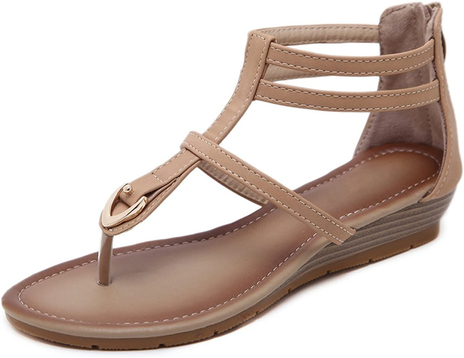 Women's Flat Sandals Summer Clip Toe Ankle T-Strap Wedge shoes