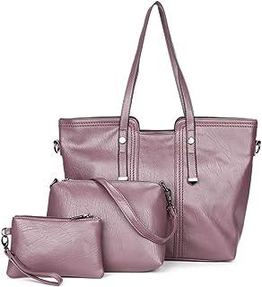 Vintage Handbag 3 Piece Set Versatile Multi Piece Set (Color : Purple)
