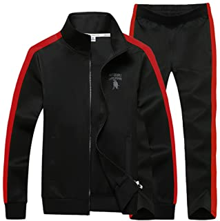 Men's Big & Tall Athletic Sports Tracksuits Causal Full Zip Loose Fit Sweatsuit