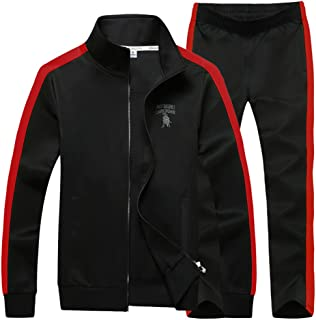Sun Lorence Men's Athletic Full Zip Fleece Tracksuit Sports Sets Casual Sweat Suit
